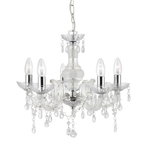 Chandelier Plastic Therese Clear 5 Light Chandelier With Acrylic Glass Drops