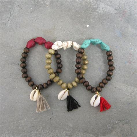 Bangle Tassel Simple Rock Chic Raebfb cowrie shell and tassel wooden bead bracelet gifts 15 boho chic style stretch stackable