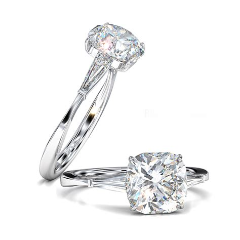 cushion cut engagement ring tapered baguettes
