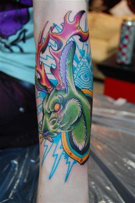 new school rabbit tattoo arm new school rabbit deer tattoo by illsynapse
