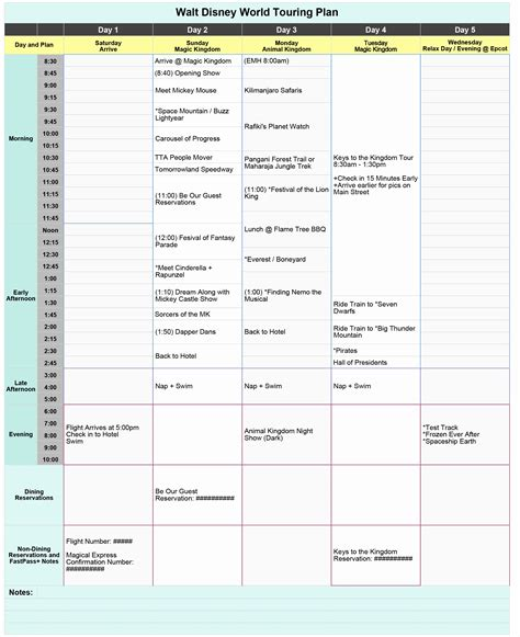 disney itinerary planner template excellent disney itinerary planner template contemporary