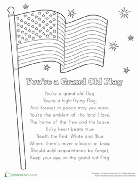 printable lyrics to you re a grand old flag you re a grand old flag coloring page education com