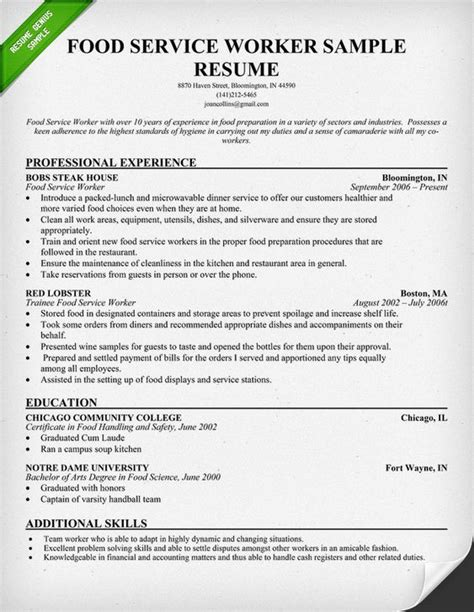 Service Industry Resume by Food Service Worker Resume Sle Use This Food Service