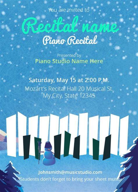 Winter Piano Recital Invitations Holiday Piano Recital Templates Pinterest Recital Piano Recital Ad Templates