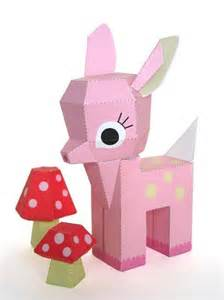 printable paper crafts printable pink paper fawn by fantastictoys craftsy