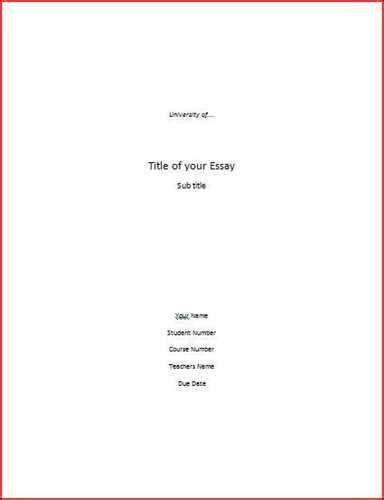 Cover page for a term paper
