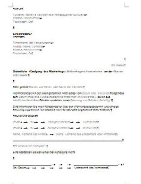 mustermietvertrag wohnung vorlage k 252 ndigung mietvertrag wohnung bei comparis