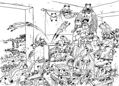 plague of frogs coloring page bible cartoons 10 stages in drawing the plague of frogs