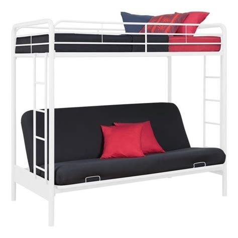 Sofa Bunk Bed Convertible Metal Convertible Futon Sofa Bunk Bed In White 4023117