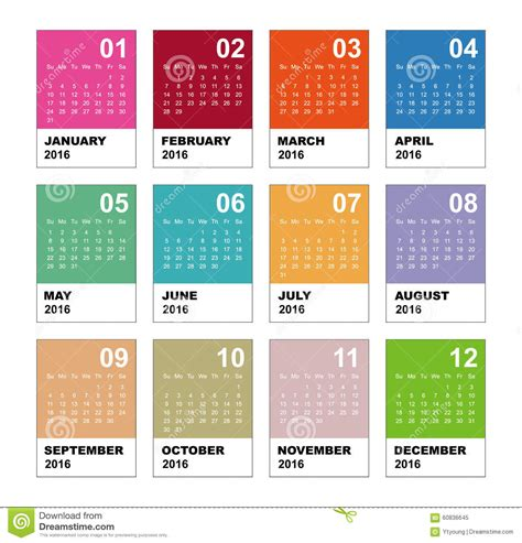 design calendar simple calendar for 2016 simple vector template stock