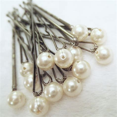 Wedding Hair With Pin by Pearl Hair Pins Ivory Set Of 12 Bridal Bobby Pins Also In