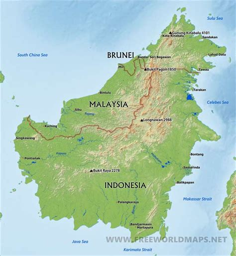 Borneo Indonesia borneo map