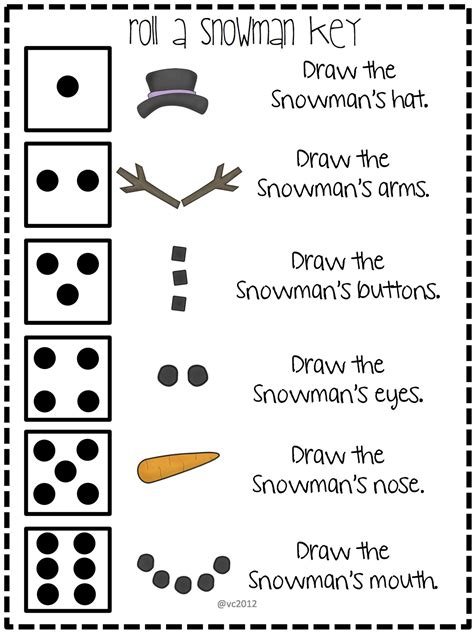 printable snowman dice game camille s primary ideas roll a snowman review