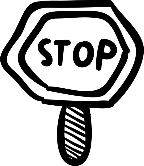 stop hand drawn signal svg png icon