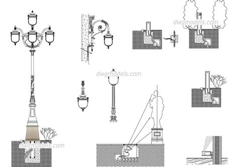 urban lighting design dwg  cad blocks