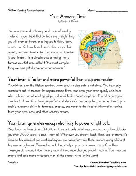printable reading comprehension test for 7th grade your amazing brain