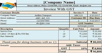 Invoice With Gst Template by Invoice With Proposed Gst In Union Budget 2017