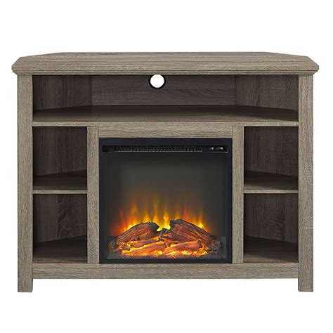 44 quot wood corner highboy fireplace tv stand driftwood ebay