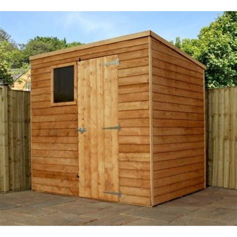 installed 7 x 5 overlap pent shed with single door 1