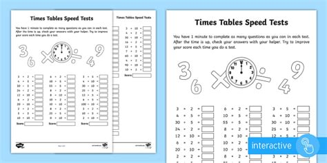 activity table for 1 year year 2 maths times tables speed tests homework activity sheet