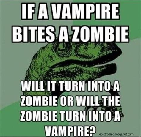 Velociraptor Meme - if a vire bites a zombie epic trolled funny