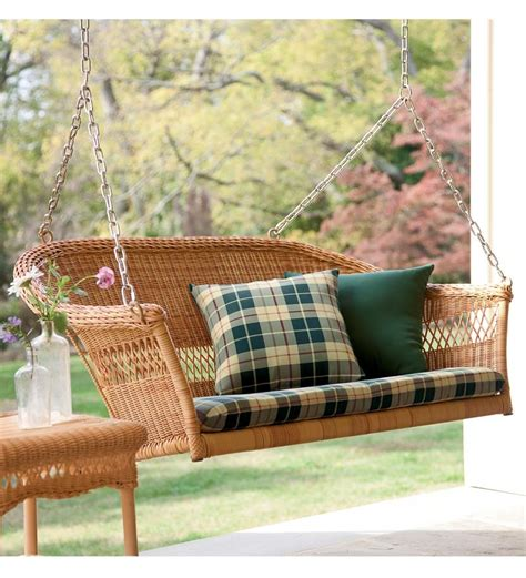 wicker outdoor swing porch swings easy care resin wicker swing ebay