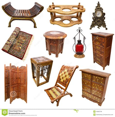 traditional indian furniture designs set with indian interior objects stock photo image 43692738