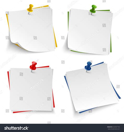 push pin template note paper push colored pin template stock vector