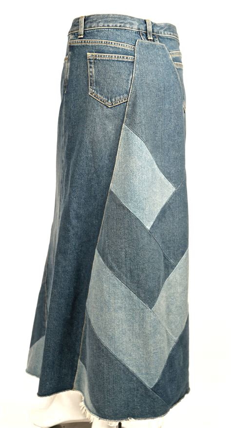 Denim Patchwork Skirt - laurent denim patchwork runway skirt new at 1stdibs