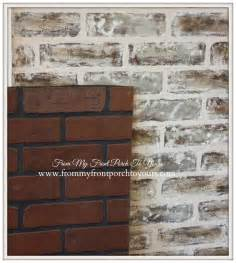 Cheap Diy Rustic Kitchen Backsplash From My Front Porch To Yours Diy Faux Brick Wall Tutorial