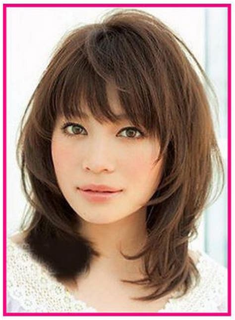 medium hairstyles with bangs for layered medium hairstyles with bangs