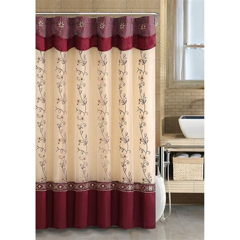 Burgundy Curtains With Valance Embroidered Shower Curtain With Attached Valance Backing Burgundy 72x72