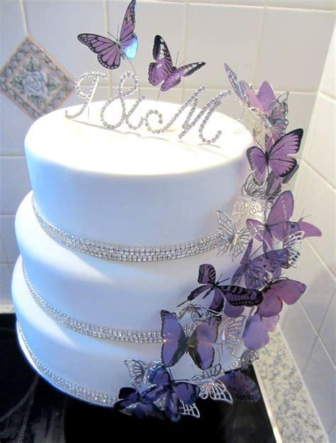 Purple Butterfly Bling Wedding Cake   CakeCentral.com