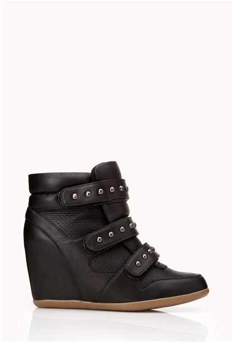 stud wedge sneakers forever 21 total stud wedge sneakers in black lyst