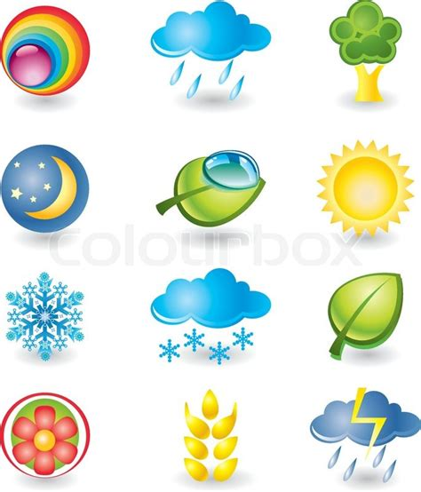 set of design elements vector set of design elements nature and weather stock vector