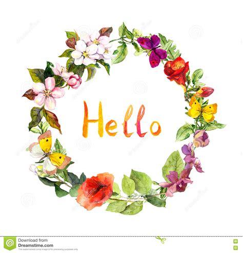 testo ciao ciao corona floreale con ciao testo fiori e farfalle prato