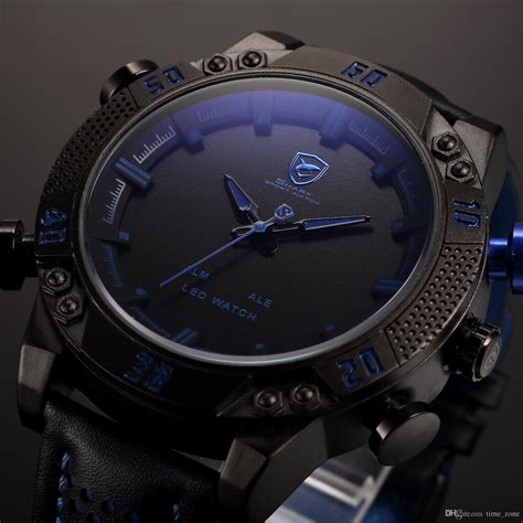 Merchandise Display Case by Shark Brand Sports Watches Black Blue Dual Time Auto Date