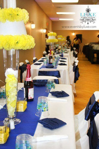 Royal blue and yellow wedding decor,   i love the idea of