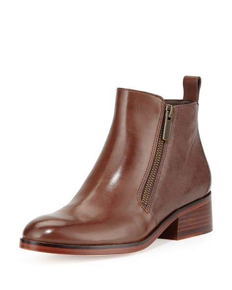 Ankle Leather Booties lyst cole haan oak leather ankle booties in brown