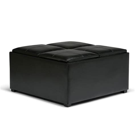 Faux Leather Coffee Table Storage Ottoman In Black Ay F Black Storage Ottoman Coffee Table