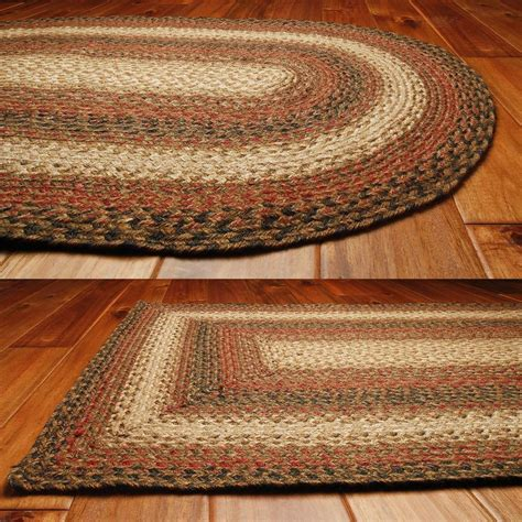 Area Rugs Braided Homespice Decor Jute Braided Area Rug Russet Black Ebay