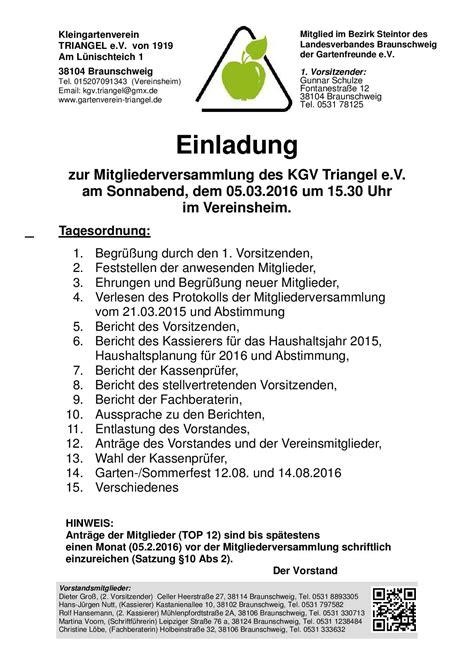 Muster Einladung Zur Ordentlichen Mitgliederversammlung Einladung Zur Mitgliederversammlung 2016 Kleingartenverein Triangel E V