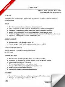 Sales Sle Resume by Insurance Sales Resume Sle