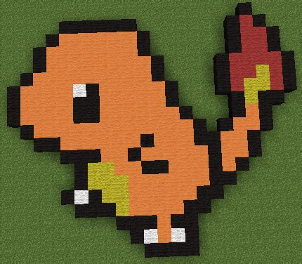 minecraft pixel art charmander from pokemon by
