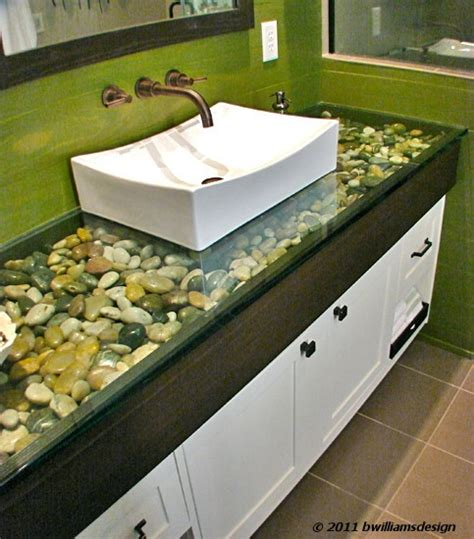Stained Glass Countertops by 1 Quot Glass Counter Top With River Rock Fill The Green
