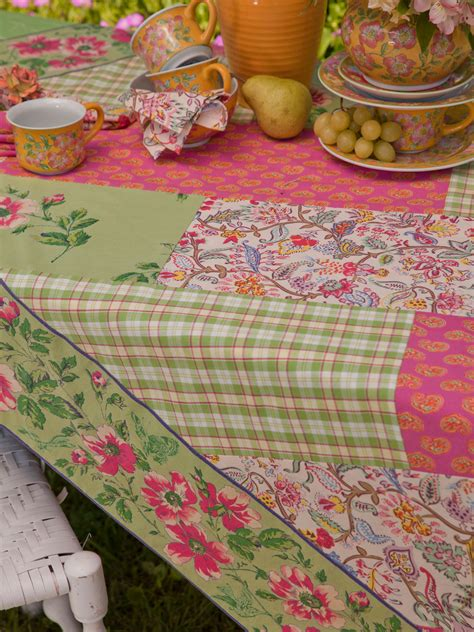 Patchwork Tablecloths - bright patchwork tablecloth linens kitchen