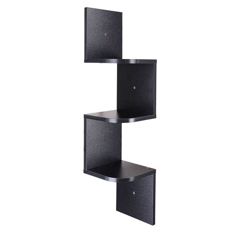 3 tiers wall mount corner zig zag wooden shelf floating