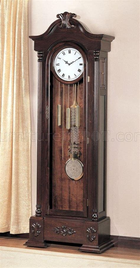 warm brown finish large scaled grandfather clock wbutton motion