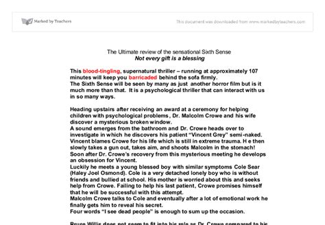 Sixth Sense Review Essay by Review Sixth Sense Gcse Marked By Teachers