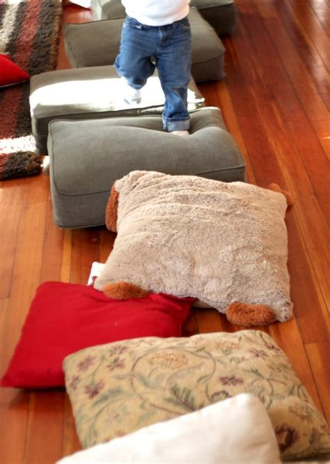 couch to walking gross motor activity for a rainy day walking on pillows